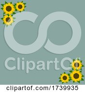 Trendy Green Background With Sunflowers Frame