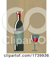 03/16/2021 - Vintage Poster Of Vino Bottle And Glass With Grunge