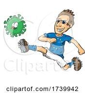 European Soccer Player Kicking A Covid Virus