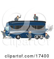 5 Male Mechanics Working Together To Fix And Repair A Broken Down And Smoking Luxurious Blue Bus Conversion Rv Motorhome Clipart Illustration