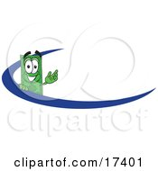 Clipart Picture Of A Dollar Bill Mascot Cartoon Character Waving And Standing Behind A Blue Dash On An Employee Nametag Or Business Logo