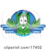 Clipart Picture Of A Dollar Bill Mascot Cartoon Character On A Blue Business Logo