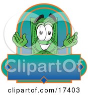 Clipart Picture Of A Dollar Bill Mascot Cartoon Character On A Blank Label