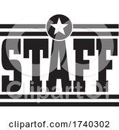 Poster, Art Print Of Black And White Star Staff Design
