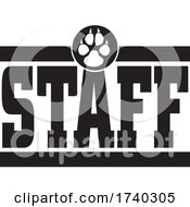Poster, Art Print Of Black And White Canine Staff Design