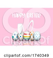 Cute Easter Background With Bunny Ears