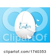 Easter Background With Egg And Butterflies
