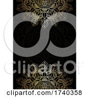 Elegant Gold And Black Background With Decorative Mandala Design