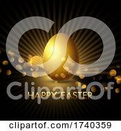 Elegant Golden Easter Egg Background