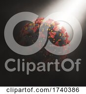 3D Abstract Background With Covid 19 Virus Cell