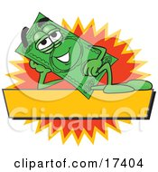 Clipart Picture Of A Dollar Bill Mascot Cartoon Character Reclining Over A Blank Yellow Label