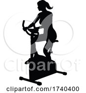 03/25/2021 - Gym Woman Silhouette Stationary Exercise Spin Bike