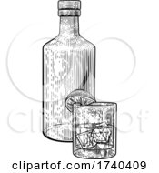 03/25/2021 - Cocktail Bottle And Glass With Ice Vintage Woodcut