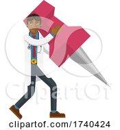 Poster, Art Print Of Asian Doctor Man Holding Thumb Tack Pin Mascot