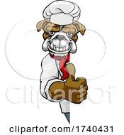 Bulldog Chef Mascot Thumbs Up Sign Cartoon