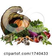 Poster, Art Print Of Cornucopia Horn Produce Vegetables Vintage Woodcut