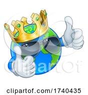 Poster, Art Print Of Earth Globe King Crown Shades Cartoon World Mascot