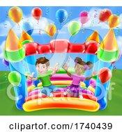 03/25/2021 - Bouncy House Castle Jumping Girl Boy Kids Cartoon