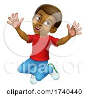 Happy Jumping Boy Kid Child Cartoon Character by AtStockIllustration
