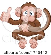 Monkey Cartoon Animal Thumbs Up And Pointing