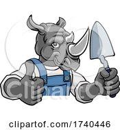 03/25/2021 - Rhino Bricklayer Builder Holding Trowel Tool