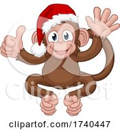 Santa Hat Christmas Monkey Cartoon Character