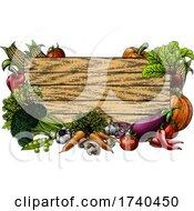 03/25/2021 - Vegetable Fresh Garden Produce Border Woodcut Sign