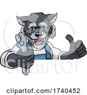 03/25/2021 - Wolf Plumber Or Mechanic Holding Spanner