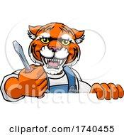 Tiger Electrician Handyman Holding Screwdriver