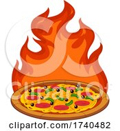 Pizza Pie With Flames