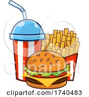 Slushy Or Soda With Fries And A Cheese Burger