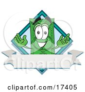 Clipart Picture Of A Dollar Bill Mascot Cartoon Character Over A Blank White Label