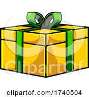 Cartoon Yellow Gift With A Green Bow
