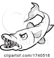 Barracuda Fish Mascot In Black And White by Johnny Sajem
