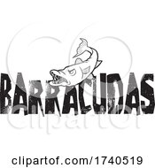 Barracuda Fish Mascot Over Distressed Text In Black And White