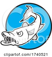 Barracuda Fish Mascot Over A Blue Circle by Johnny Sajem