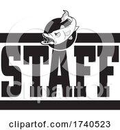 Barracuda Fish Mascot Over STAFF Text