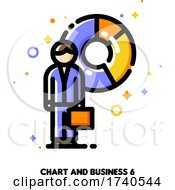 Icon Of Businessman With Briefcase On A Background Of Chart For Financial Statement Or Trade Report Concept