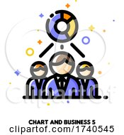 Icon Of Chart And Three Business Persons For Economic Research Or Financial Analysis Concept