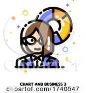 Poster, Art Print Of Icon Of Businesswoman On A Background Of Chart For Financial Strategy And Budget Balance Concept