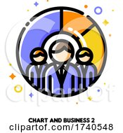 Icon Of Three Business Persons On A Background Of Chart For Make More Money With Budget Planning Concept