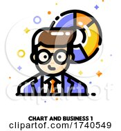 Icon Of Businessman On A Background Of Chart For Income And Revenue Increase Concept