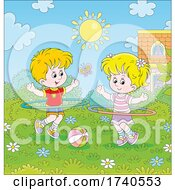 Poster, Art Print Of Children Playing With Hula Hoops Outside