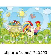 Easter Chickens With A Cart Of Eggs