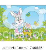 Female Easter Bunny Rabbit With A Basket Of Eggs