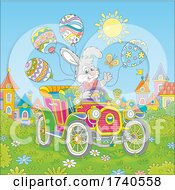 Easter Bunny Rabbit Driving An Antique Car