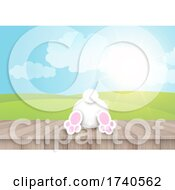 Easter Background With Cute Bunny On Wooden Table