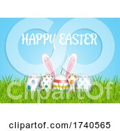 Easter Background With Eggs In Grass And Bunny Ears
