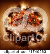 3D Abstract Medical Background With Covid 19 Virus Cell With Storm Effect