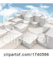 Poster, Art Print Of 3d Extruding Cubes On Blue Sky Background
